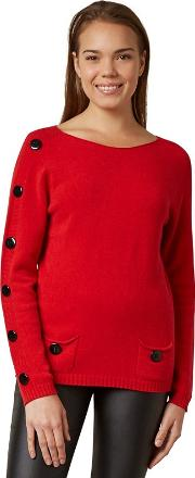 Red Buttons Sleeve Jumper