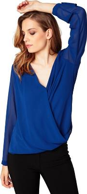 Royal Blue V Neck Long Sleeve Crossover Blouse