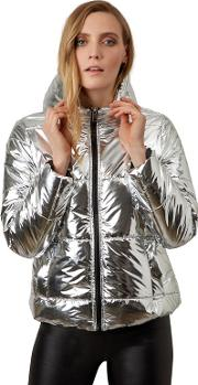 Silver Metalic Hooded Puffa