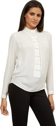 White Tie Neck Pearl Blouse