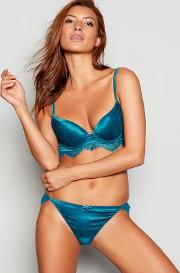 Reger By  Turquoise Jacquard Lace Underwired Padded Plunge Bra