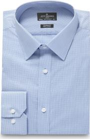 Big And Tall Designer Light Blue Mini Checked Shirt