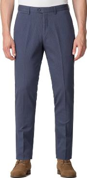 Blue Textured Diamond Weave Trousers