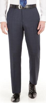 Blue With Pink Overcheck Check Regular Fit Black Label Suit Trouser