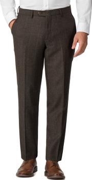 Brown Check Mixed Tailoring Wool Blend Tailored Fit Trousers