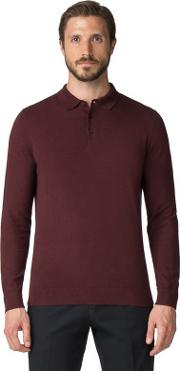 Burgundy Cotton Long Sleeve Knitted Polo Shirt