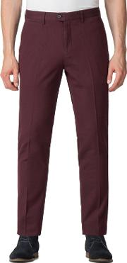 Burgundy Textured Diamond Weave Trousers
