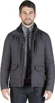 Charcoal Houndstooth Padded Jacket