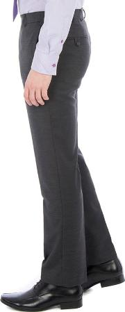 Charcoal Twill Machine Washable Tailored Fit Wool Blend Formal Trouser