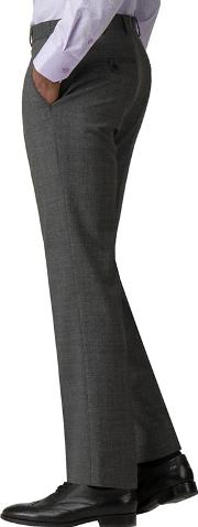 Grey Check Machine Washable Tailored Fit Wool Blend Formal Trousers