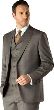 Grey Pick And Pick 2 Button Regular Fit Suit Jacket