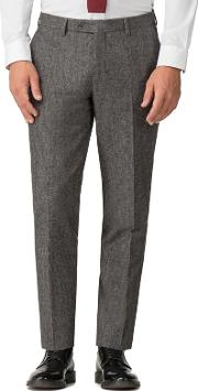 Grey Puppy Tooth Mixed Tailoring Wool Blend Tailored Fit Trousers