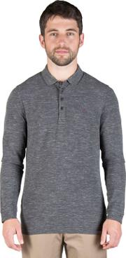 Grey Space Marl Long Sleeve Rugby Shirt