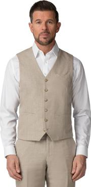Oatmeal Pure Linen Tailored Fit Waistcoat
