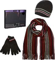 Red Striped Beanie Hat, Scarf And Gloves In A Gift Box
