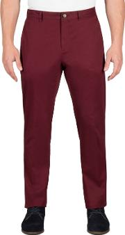 Red Twill Chino Trousers