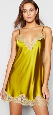 No. 1  Lime Green Silk Blend Lace Trim Chemise