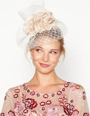 No. 1  Natural Mini Floral Windowpane Fascinator