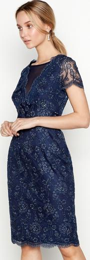 No. 1  Navy Floral Lace lizbeth Round Neck Short Sleeve Knee Length Shift Dress