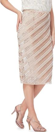 No. 1  Pink alcy Beaded Striped Skirt