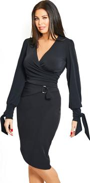 Black caluma Pencil Skirt With Ring Detail Belt And Slit