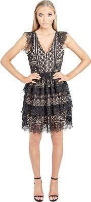 d4bf6298a9 Black junia V Neck Tiered Crochet Lace Skater Dress