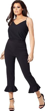 Black theresa Frill Cropped Trousers