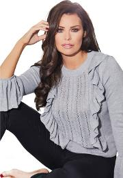 Grey marcia Jumper With Frill Detail Jumper