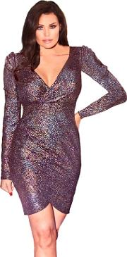 4ec887a0 Gunmetal bruni Textured Metallic Glitter Wrap Bodycon Dress With Shoulder  Pads. jessica wright for sistaglam