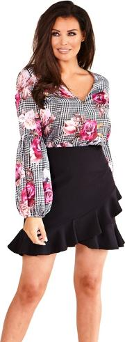Multicolour delane Floral And Check Print Blouse