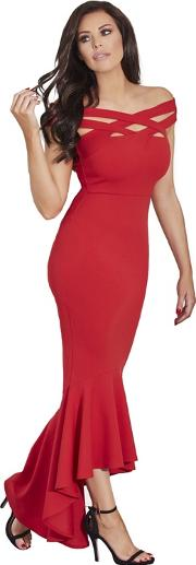Red giovanna Cross Front Maxi Dress With Dipped Frill Hem