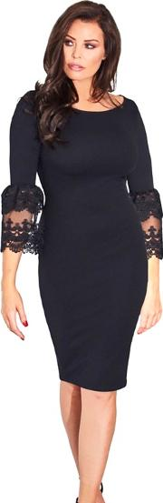 Sistaglam Love Jessica Black rae Lace Trim Bell Sleeve Bodycon Dress