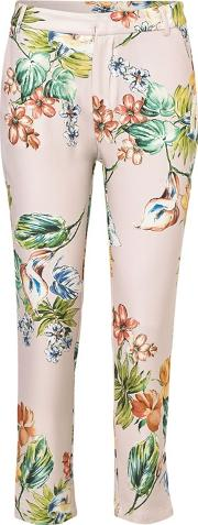 Sistaglam Love Jessica Cream noemi Multi Tailored Floral Print Trousers With Pocket