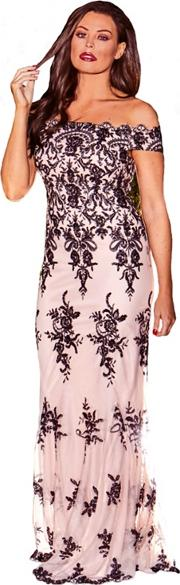 Sistaglam Love Jessica Nude paola Vip Sequin Embroidered Mesh Bardot Maxi Dress