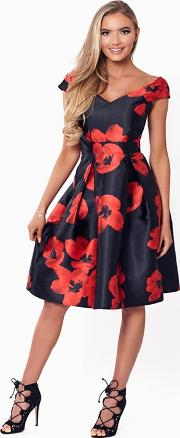Sistaglam Love Jessica Red And Black rose Floral Prom Dress