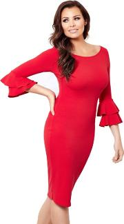 Sistaglam Love Jessica Red izzie Ruffle Sleeves Bodycon Dress