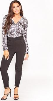Sistaglam Love Jessica Satin Animal Print edie Blouse With Lace Back Insert
