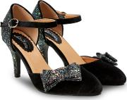 Black Glitter glamour And Glitz High Stiletto Heel Court Shoes