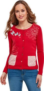 Bright Red A Bit Of Everything Cardigan