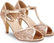 Gold Glitter magical Evening High Stiletto Heel T Bar Shoes