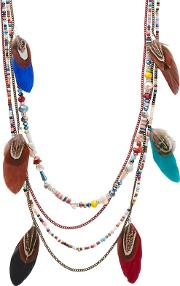 Multi Coloured munroe Island Feather Necklace