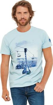 Pale Blue Printed rockin The Slopes Crew Neck Short Sleeves T Shirt