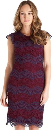 Red Lace Cotton Blend luscious Knee Length Bodycon Dress