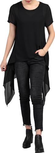 Black High Low Hemline Tunic Top