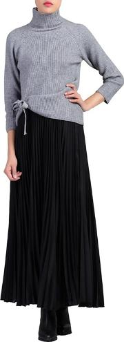Black Pleated Crepe Maxi Skirt