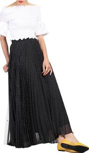 Black Polka Dot Pleated Maxi Skirt