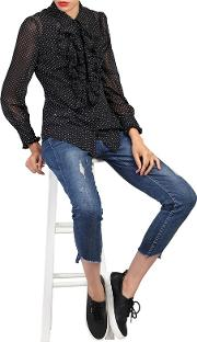 Black Polka Dot Ruffle Shirt