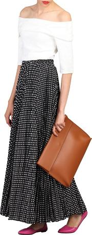 Black Print Pleated Maxi Skirt