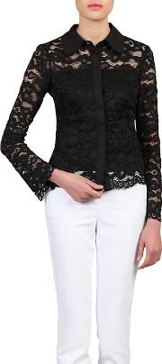 Black Scalloped Lace Button Front Blouse