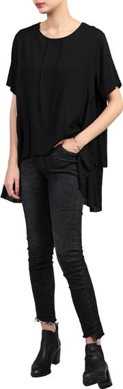 Black Side Ruched Comfy Blouse